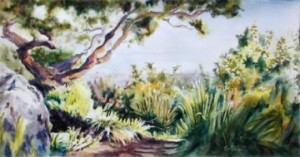 Live Oak by Elaine Frenett, painted at the Harland Hand Memorial Garden