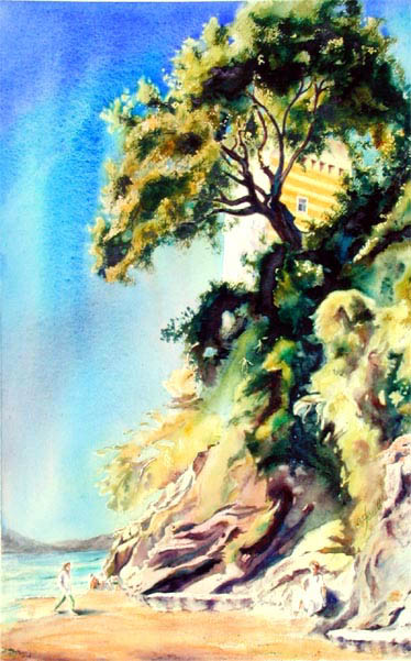 """Mediterranean Sentinal"" by Elaine Frenett.  Original Watercolor 21"" x 13""."