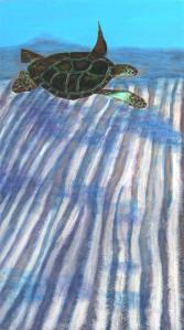 """Turtle Flight"" Original 24""x48"" painting on 1 1/2"" deep gallery wrapped canvas from the Tropical Series by Wanda Pépin. Very textured, painted with a palette knife. Sand texture used for the ocean floor. Heavy gel medium to build up the turtle."