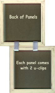 The panels that are uniquely constructed to allow them to be hooked together with u-Clips, allowing the art collector to assemble them in any way that they choose.