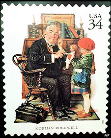 Norman Rockwell illustrated stamps, advertisements and magazine covers