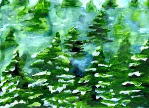 Winter Evergreens by Wanda Johnson Pepin
