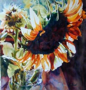 Sunflower Drama by Elaine Frenett