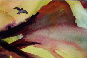 Bird and Trees  5x7 Artist Trading Card by Elaine Frenett