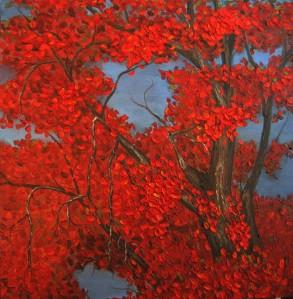Crimson Treetops by Wanda Pepin